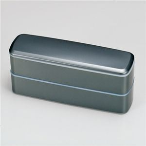 HAKOYA 弁当箱 スリム長角 2段 メタリックブラック - 拡大画像