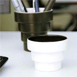 【ギフトにもぴったり!】dandan 入れ子式ペアカップ 黒(4段)&白(3段) 【2セット】 - 拡大画像