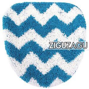 オカトー トイレフタカバー ZIGUZAGU 洗浄便座用 トイレカバー ブルー - 拡大画像