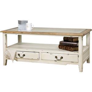 コーヒーテーブル 【ブロッサム】 木製/強化ガラス製 引き出し収納付き COL-013