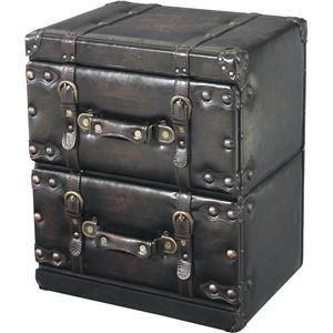 アンティーク調チェスト/タンス 【Traver Furniture】 2段 木製(杉)/合成皮革 IW-872