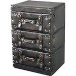 アンティーク調チェスト/タンス 【Traver Furniture】 3段 木製(杉)/合成皮革 IW-873