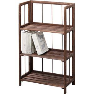 収納棚(フォールディングシェルフ3L) 木製 3段 幅50cm LFS-363BR ブラウン