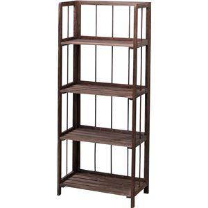 収納棚(フォールディングシェルフ4L) 木製 4段 幅50cm LFS-364BR ブラウン