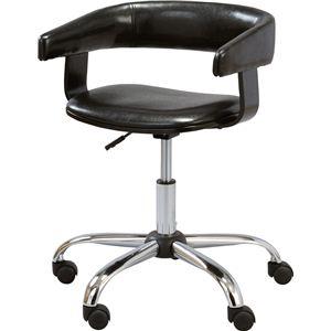 デスクチェア(椅子) スチール/ソフトレザー 昇降・回転式 肘掛け RKC-261BK ブラック(黒) - 拡大画像