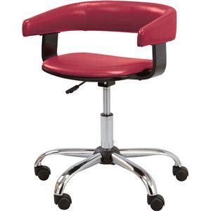 デスクチェア(椅子) スチール/ソフトレザー 昇降・回転式 肘掛け RKC-261RD レッド(赤) - 拡大画像