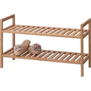 ワイドスタッキングラック 木製 2段 (室内/屋外/ガーデニング) 木製 (オイル仕上げ) LFS-358NA ナチュラル - 拡大画像