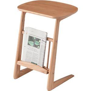 サイドテーブル 【Henry】ヘンリー 木製 棚収納付き HOT-535NA ナチュラル - 拡大画像