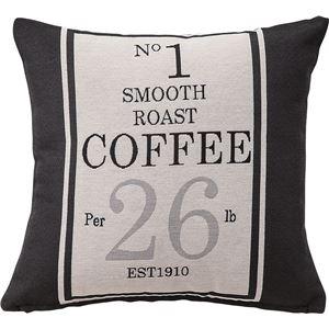 プリントクッション コーヒー袋柄 正方形 45cm×45cm コットン (綿)入り (インテリア雑貨) TTC-104 - 拡大画像