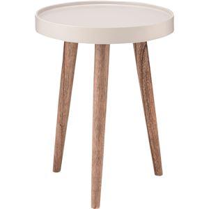 サイドテーブル(トレーテーブル) 木製 丸型 小(Sサイズ) NW-723 ホワイト(白) - 拡大画像