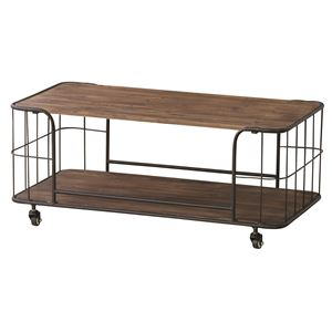センターテーブル 木製(杉)/スチール 棚収納付き IW-994 - 拡大画像