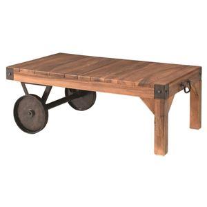 サイドテーブル(トロリー型テーブルS) 木製/アイアン TTF-117  - 拡大画像