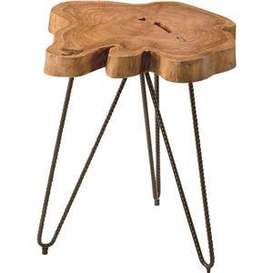 サイドテーブル(ムク) 木製/スチール TTF-185 - 拡大画像
