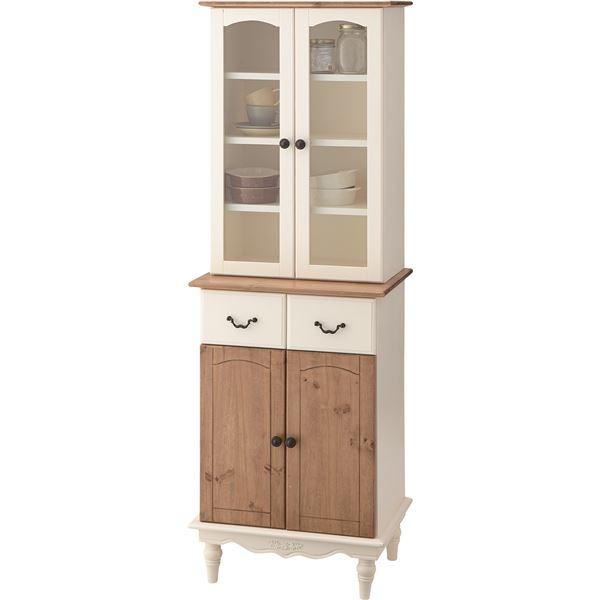 食器棚/カップボード 【Vicky】ビッキー 木製(天然木)/強化ガラス 幅55cm スリム PM-853