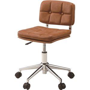(2脚セット)東谷 デスクチェア(椅子) 昇降機能付き スチール/ソフトレザー/合皮 RKC-301BR ブラウン - 拡大画像