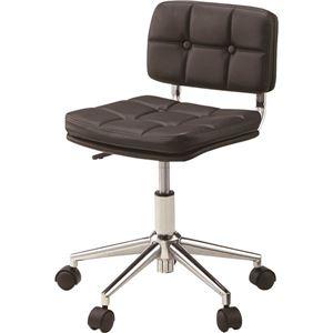 デスクチェア(椅子) 昇降機能付き スチール/ソフトレザー/合皮 RKC-301BK ブラック(黒) - 拡大画像
