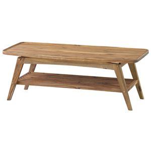 コーヒーテーブル(ヴァルト) 長方形 木製 棚付き NET-615