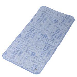 ソフトクール 接触冷感 ベッドパッド タイポグラフィブルー GLS-387TBL - 拡大画像