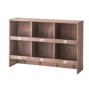 木製ウォールラック/壁掛け収納棚 【2段】 幅60cm×奥行15cm フック/ナンバー付き CCR-118