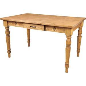 レトロ調ダイニングテーブル/リビングテーブル 【幅120cm】 天然木(パイン) 引き出し収納付き CFS-771