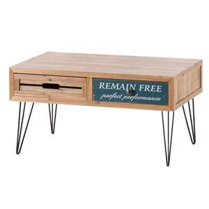 ビンテージ風引き出し収納付きセンターテーブル/ローテーブル 【幅80cm】 スチール×木製 CHP-374