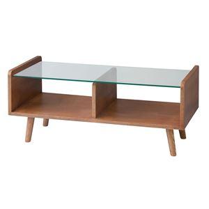 シンプルセンターテーブル/ローテーブル 【幅90cm】 強化ガラス天板 収納棚付き ブラウン CL-331BR