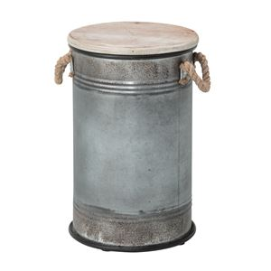 スツール缶(腰掛け椅子) 直径27cm×高さ42cm スチール×天然木 ELF-337 - 拡大画像