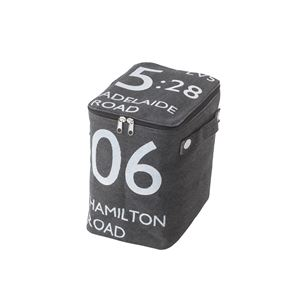 ストレージボックス/蓋付き収納箱 【ハーフサイズ ブラック】 幅18cm×奥行26cm×高さ23cm ファスナー付き FKG-259BK - 拡大画像