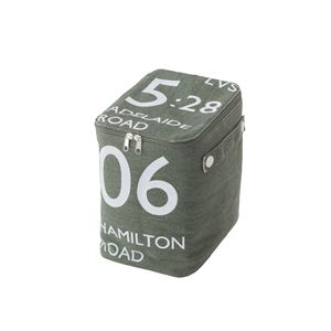 ストレージボックス/蓋付き収納箱 【ハーフサイズ グリーン】 幅18cm×奥行26cm×高さ23cm ファスナー付き FKG-259GR - 拡大画像