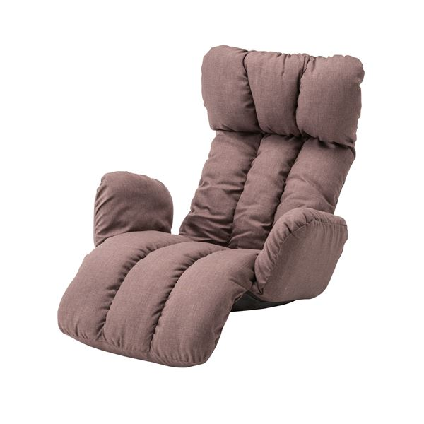 うたた寝チェア(座椅子/リクライニングチェア) ブラウン 肘付き 折りたたみ可 LSS-28BR