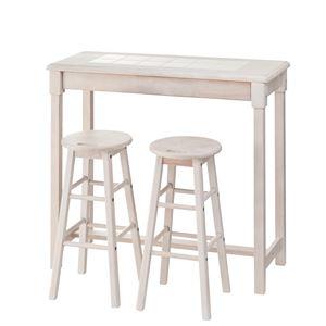 木製カウンターテーブル/コーヒーテーブル 【スツールセット】 幅95cm ホワイト NET-588WH - 拡大画像
