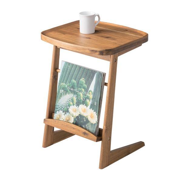 素朴であたたかみある「木目調サイドテーブル/ミニテーブル 【幅42cm】 木製 天然木/アカシア NET-724」