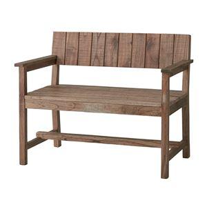 天然木ベンチチェア/ガーデンベンチ 【幅100cm】 背もたれ/肘付き ビンテージ調 NW-720