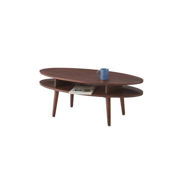 北欧調オーバルテーブル/ローテーブル 【幅105cm ウォールナット】 木製 NYT-762WAL