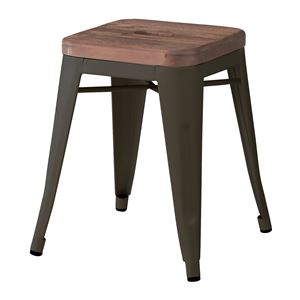 ビンテージ風スツール/腰掛け椅子 【幅39cm】 天然木×スチール ブラック 『アラン』 PC-134BK - 拡大画像
