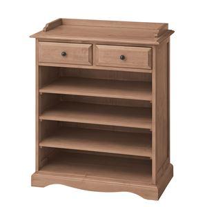 天然木カップボード(食器棚/キッチン収納) D 幅85cm×奥行45cm 引き出し付き 木目調 PM-615D