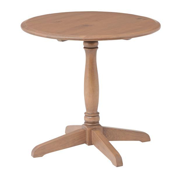 木の温かみを感じる「アンティーク調ラウンドテーブル/リビングテーブル 【円形 直径60cm】 木製 木目調 『バーニー』 PM-618」