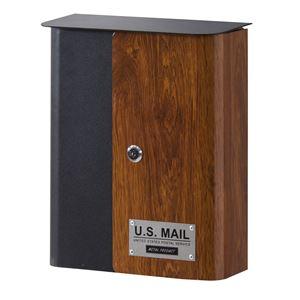 デザイン郵便ポスト/郵便受け 【幅26.5cm×奥行12cm×高さ32.5cm】 スチール製 木目調 PST-215C