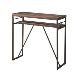 ビンテージ風カウンターテーブル/ハイテーブル 【幅105cm】 スチール×天然木 ブラック PT-782BK