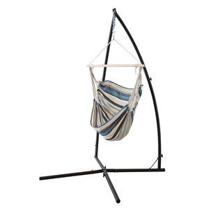 ハンモックチェア/揺り椅子 【ブルー】 スチールフレーム RKC-538BL 〔アウトドア キャンプ お庭〕