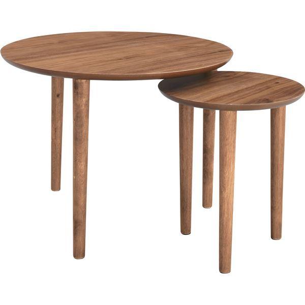 インテリアにもマッチする木目調仕上げの「天然木ラウンドネストテーブル/入れ子テーブル 【円形 直径60cm・直径37cm】 ウォールナット 『トムテ』 TAC-224WAL」