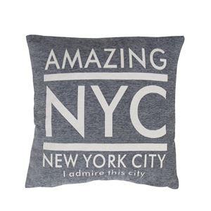 デザインクッション 【ニューヨーク/グレー】 正方形 55cm×55cm 英字柄 TTC-553GY 〔インテリアグッズ ディスプレイ用品〕 - 拡大画像