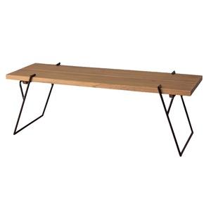 天然木コーヒーテーブル/ローテーブル 【Sサイズ 幅105cm×奥行43cm】 木製×アイアンフレーム スリム