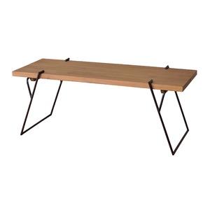 天然木コーヒーテーブル/ローテーブル 【Lサイズ 幅120cm×奥行43cm】 木製×アイアンフレーム スリム - 拡大画像