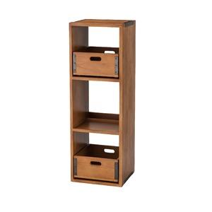 天然木 シェルフ/収納ラック 【幅35cm】 木製 縦置き・横置き両用 収納ボックス:取り外し可 木目調 - 拡大画像