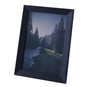 モダン フォトフレーム/写真立て 【Lサイズ ブラック】 幅26cm ガラス 〔リビング ダイニング 寝室 ベッドルーム〕
