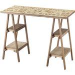 シンプル リビングテーブル/ワークデスク 【幅92cm】 木製 棚板4枚付き 〔リビング ダイニング 作業 仕事〕