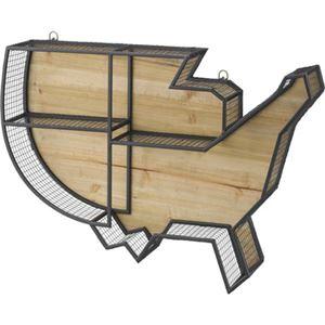 壁掛け リビング収納 【LFS-591B】 幅74cm スチール 木製 ラッカー塗装 『ウォールラック』 〔店舗 リビング ダイニング〕