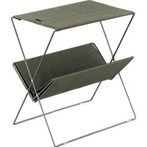 ミニテーブル/マガジンラック 【グリーン】 幅50.5cm コットン スチール 『フォールディングサイドテーブル』 - 拡大画像