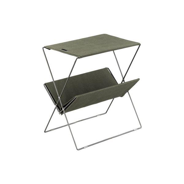 ミニテーブル/マガジンラック 【グリーン】 幅50.5cm コットン スチール 『フォールディングサイドテーブル』